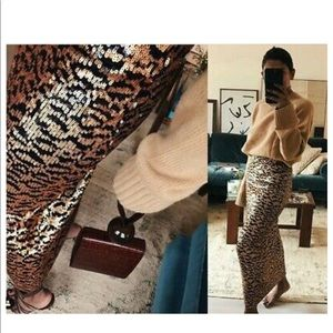 Zara Leopard Animal Print Sequin Maxi Skirt NWT M